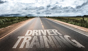 Driver Training written on rural road